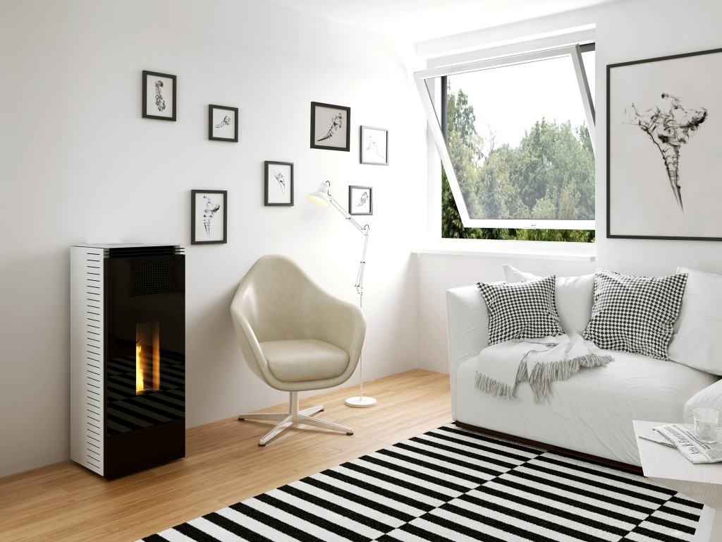 Poêles à granulés SKIA DESIGN Mini Tower Glass Door Noir
