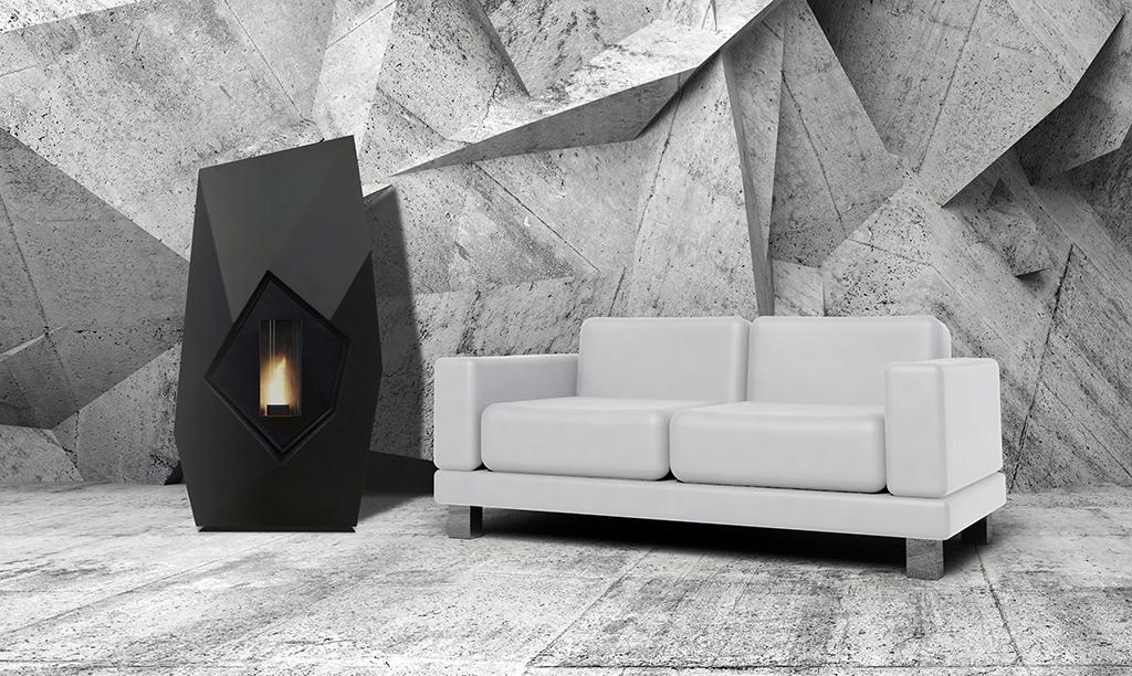 Poêles à granulés SKIA DESIGN Diamond Etanche Noir
