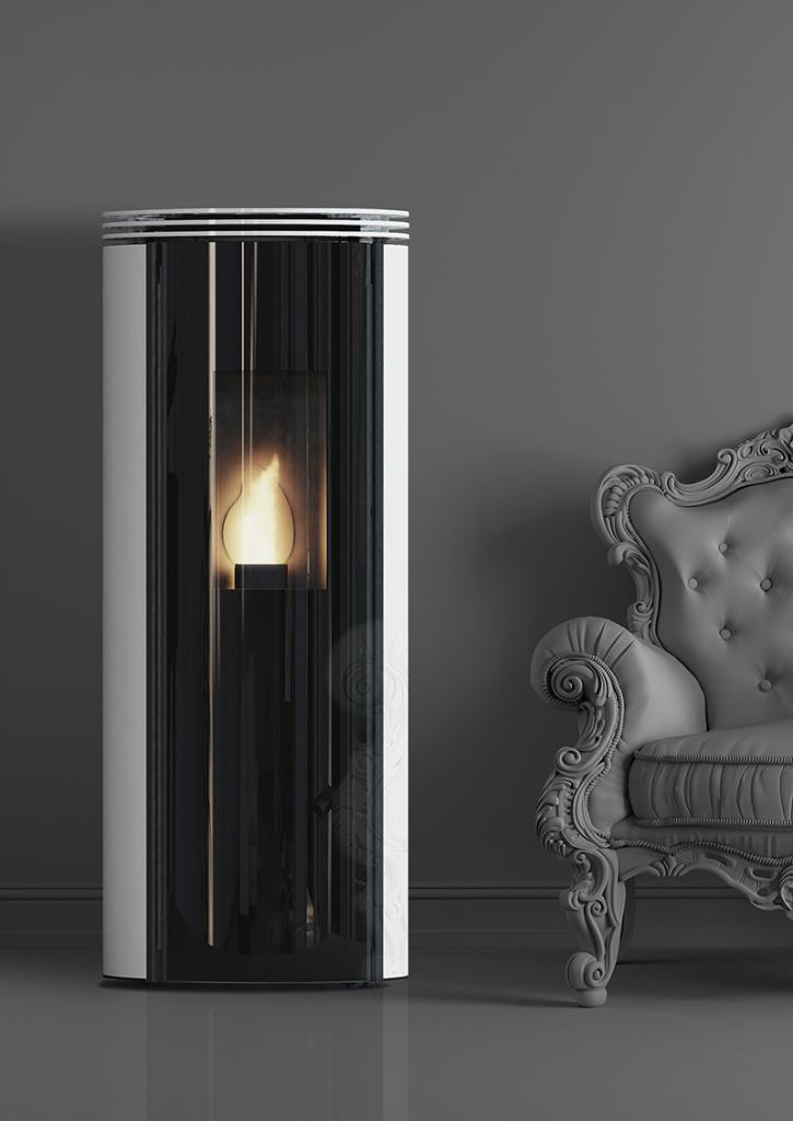 Poêles à granulés SKIA DESIGN Fusion HI Glass Blanc 11.5
